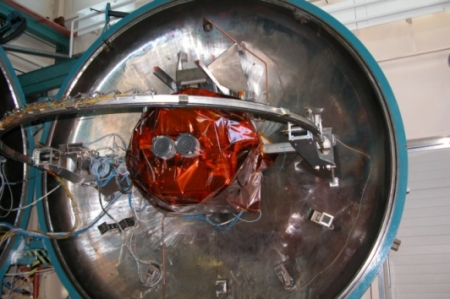 The GOCE Ion Propulsion Assembly being prepared for testing in QinetiQ's thermal vacuum chamber