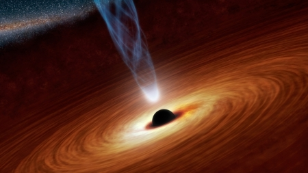 Black hole (don't be scared, it's just an artist's rendering)